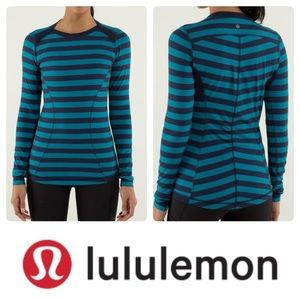 Lululemon blue&teal striped base runner LS/ S